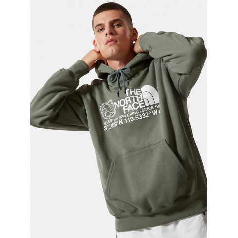 Sweat à capuche homme vert foncé THE NORTH FACE matière coton logo centrale et sur l'épaule coupe over size référence: 55MW FN4