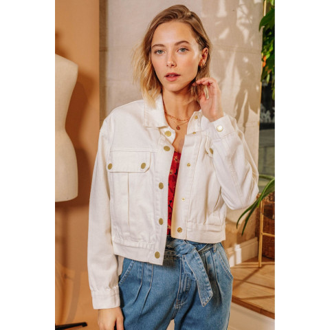 Veste femme beige LA PETITE ETOILE matière coton fermeture par boutons pression coupe courte référence esma E-Boutique CLOANE